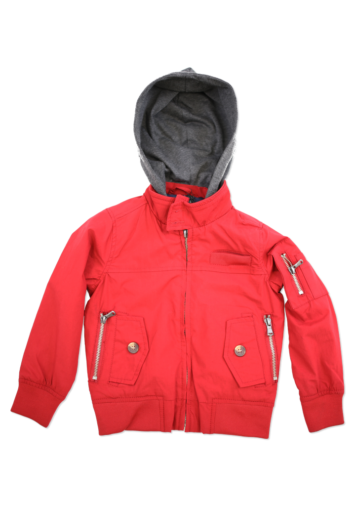Boys Red Fashion Cotton Jacket with Hood