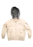 Kids Tan Fashion Cotton Jacket with Hood