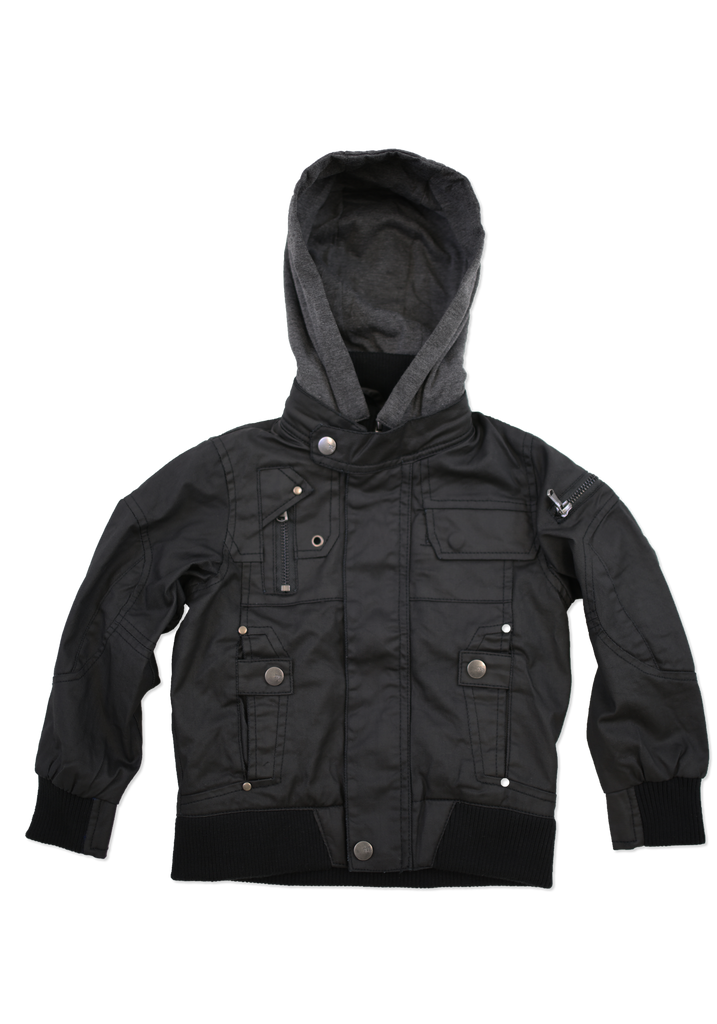 Kids Fashion Black Coated Cotton Jacket with Hood