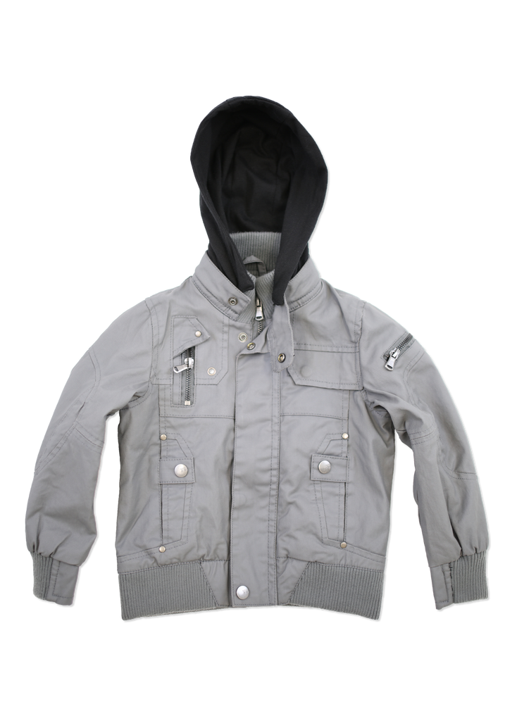 Kids Fashion Dark Grey Coated Cotton Jacket with Hood