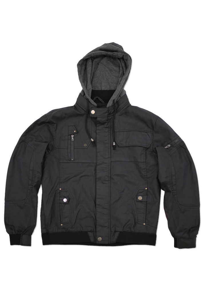 Mens Fashion Black Coated Cotton Jacket with Hood