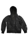 Toddler's Fashion Black Faux Leather Jacket with Hood