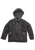 Boys Charcoal Fashion Faux Leather Jacket with Hood