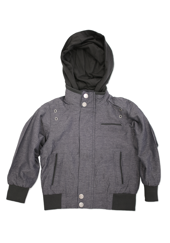 Kids Charcoal Fashion Cotton Jacket with Hood