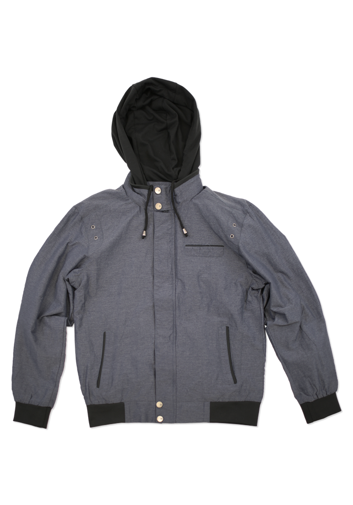 Mens Charcoal Fashion Cotton Jacket with Hood