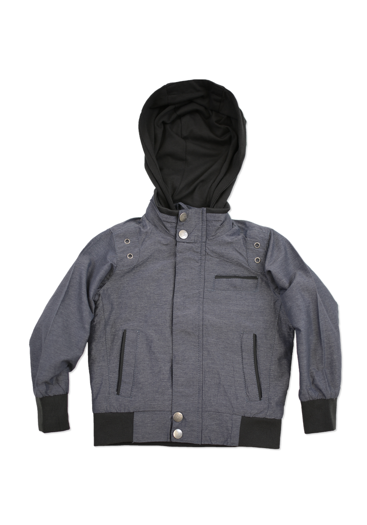 Boys Charcoal Fashion Cotton Jacket with Hood
