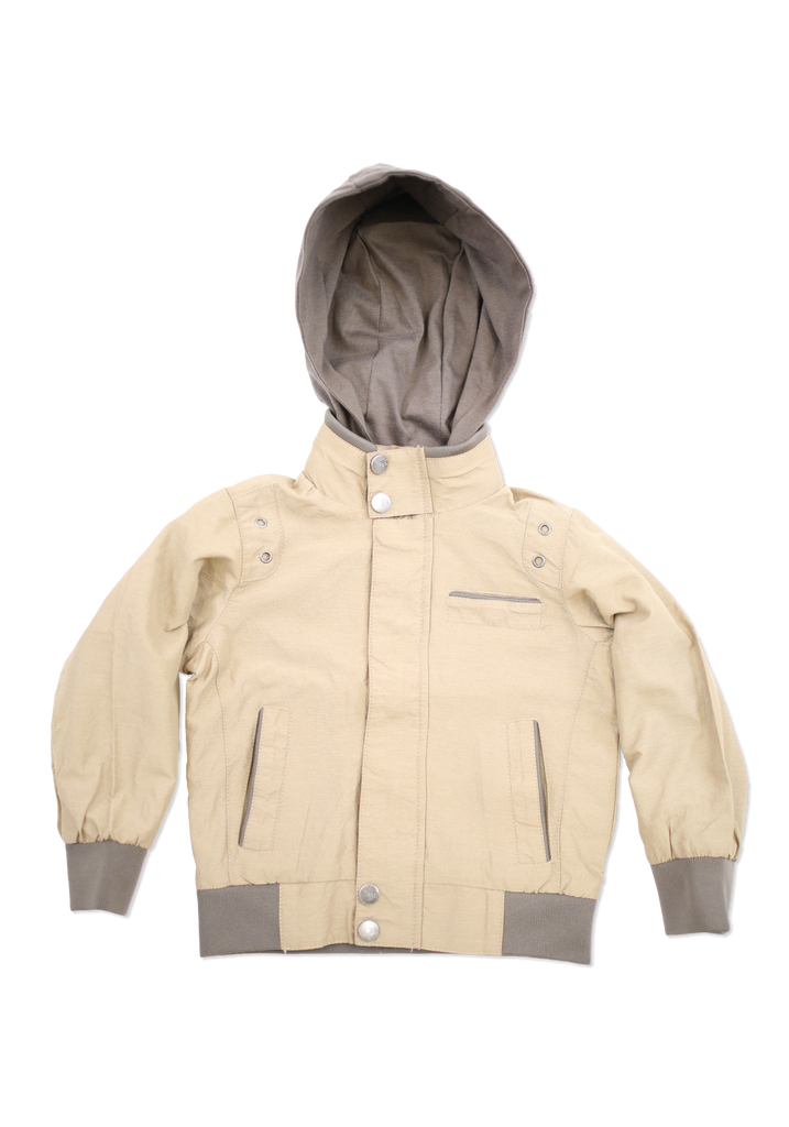 Boys Khaki Fashion Cotton Jacket with Hood