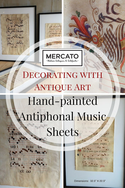 Decorating With Antique Art Hand Painted Antiphonal Music
