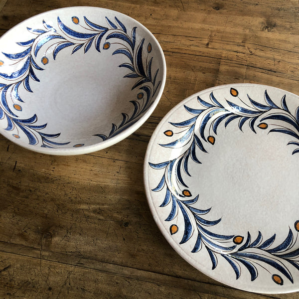 Italian serveware with handpainted olive branch