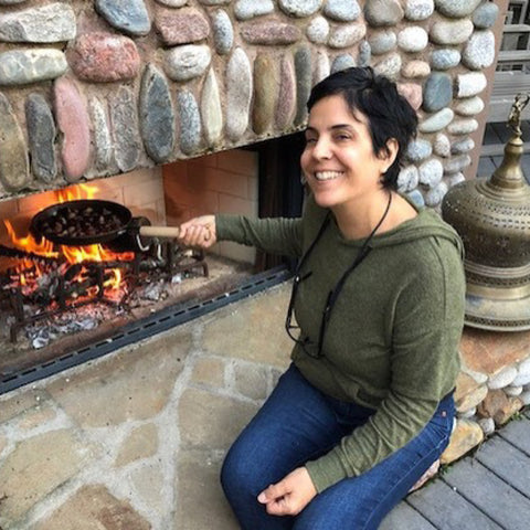 Tuscan Style Home Décor: A Guide The 5 Main Things to Know - Roasting chestnuts in my outdoor fireplace