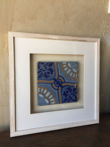 framed antique tile from italy