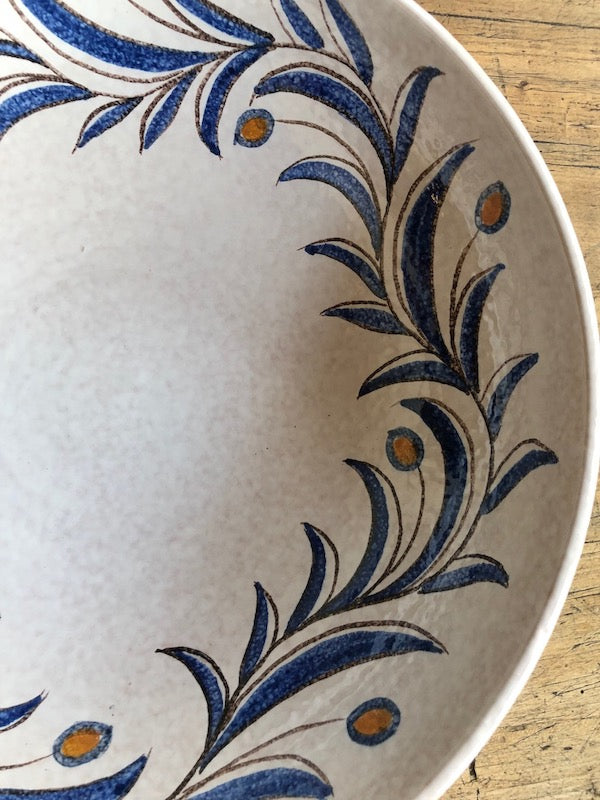 olive branch design on large serving bowl made in Italy