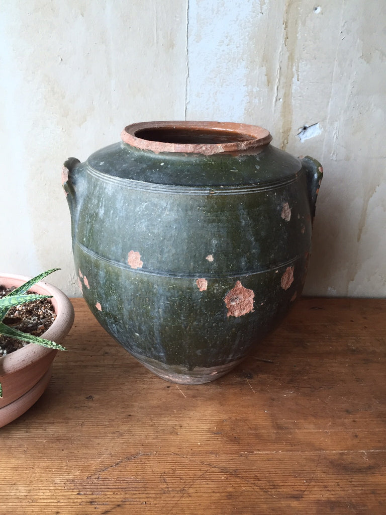 Antique Tuscan Pot-Green - Mercato Antiques - 1