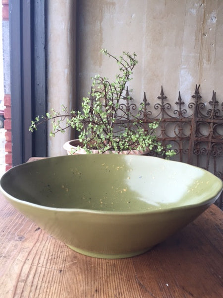 Moss Green Serving Bowl - Large - Mercato Antiques - 1