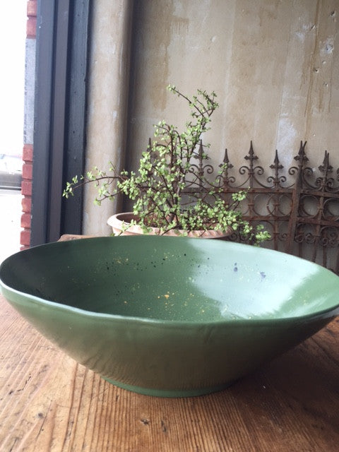Verde Dark Green Serving Bowl - Large - Mercato Antiques - 1