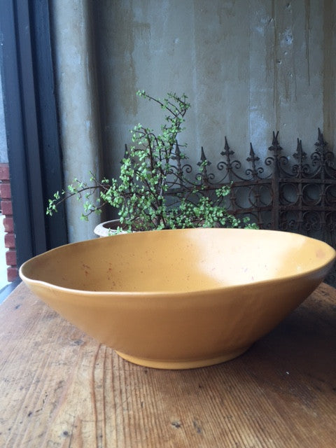 Ochre Yellow Serving Bowl - Large - Mercato Antiques - 1