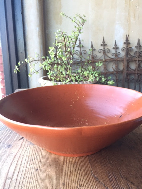 Cotto Rosso Red Serving Bowl - Large - Mercato Antiques - 1