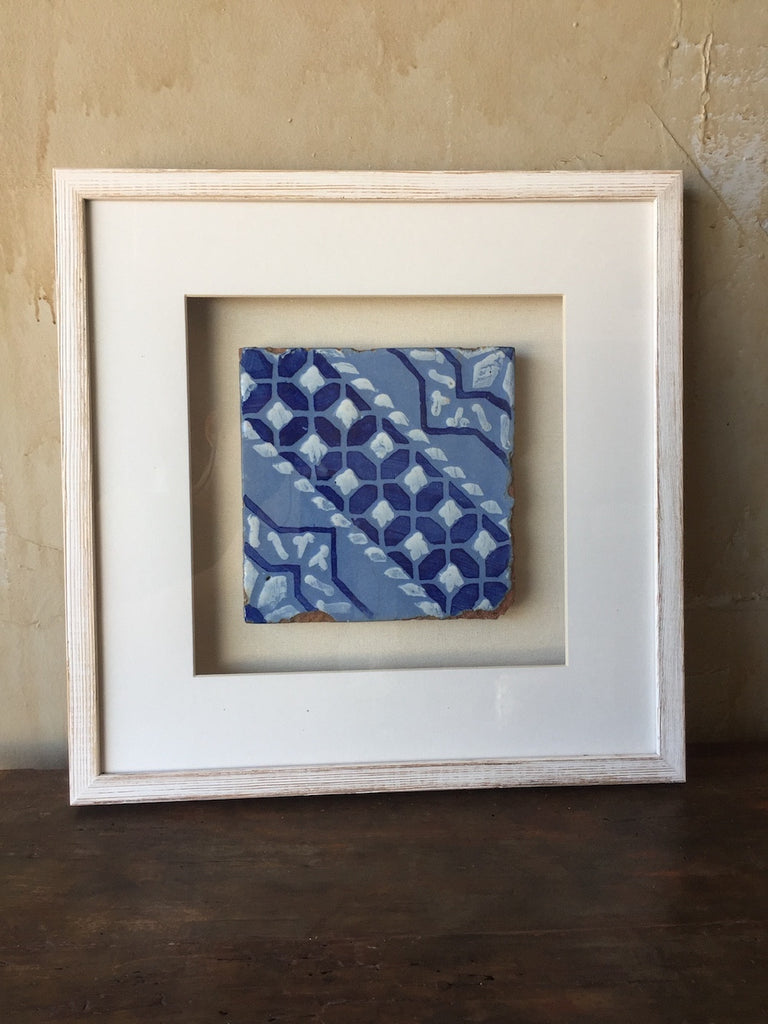 (SOLD) Framed Italian Antique Tile - Light Blue, Dark Blue and White