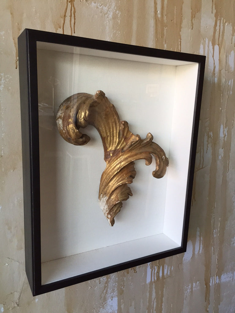 Framed Antique Acanthus Leaf Fragment - Mercato Antiques - 1