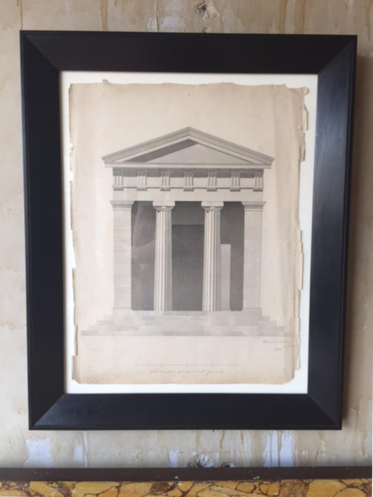Antique Pencil and Watercolor - Architectural Facade - Mercato Antiques - 1