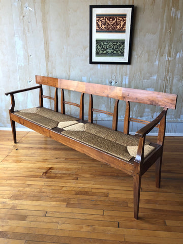 Italian Antique Bench with Rush Seat