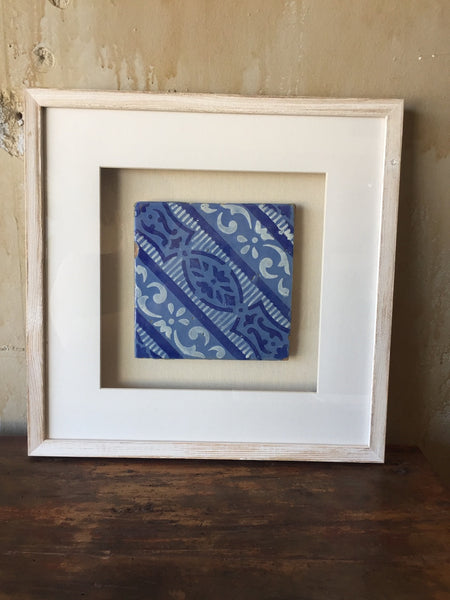 (SOLD) Framed Italian Antique Tile - Light and Dark Blue with White