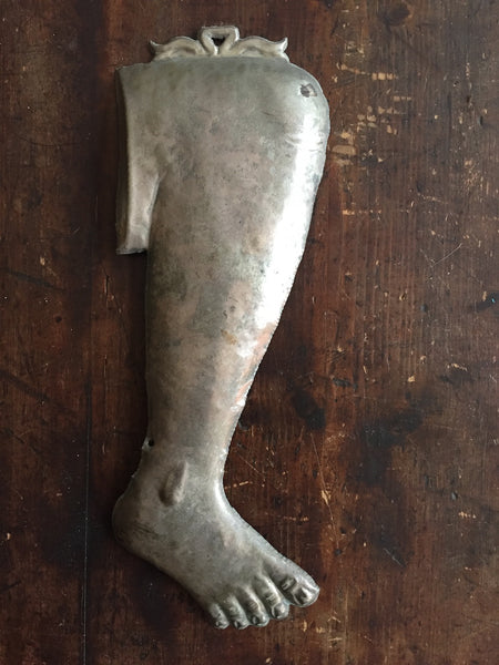 Silverplated Ex Voto Leg