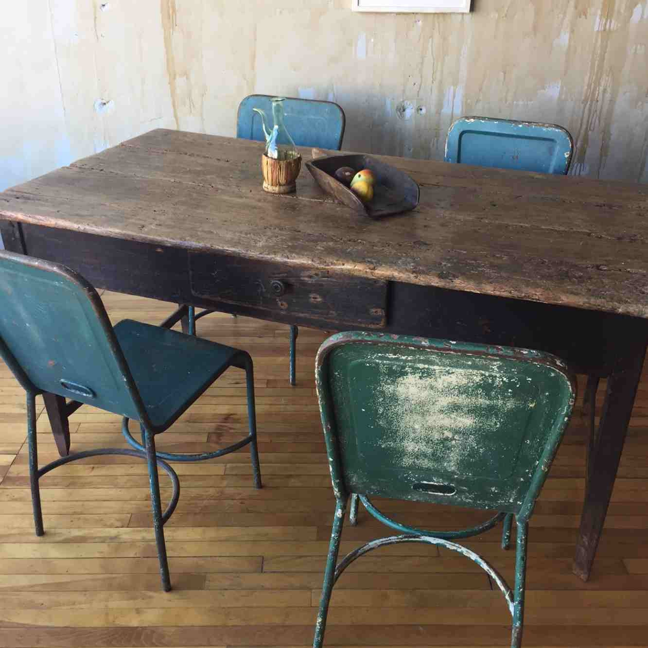 Kitchen Table Into Desk: Rustic Antique Table