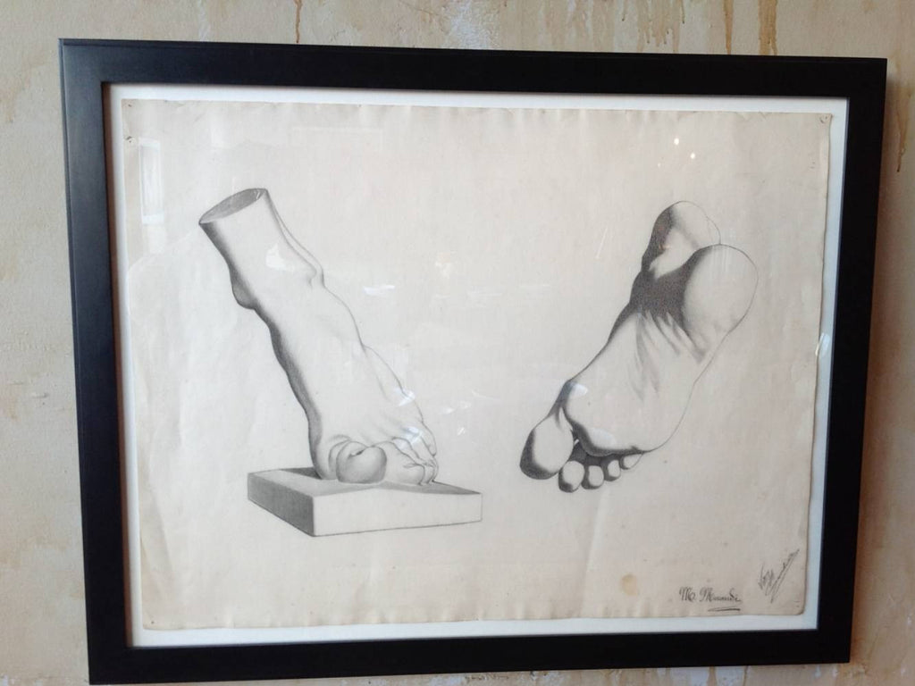 Italian Antique Pencil Drawing Of Feet - Mercato Antiques - 1