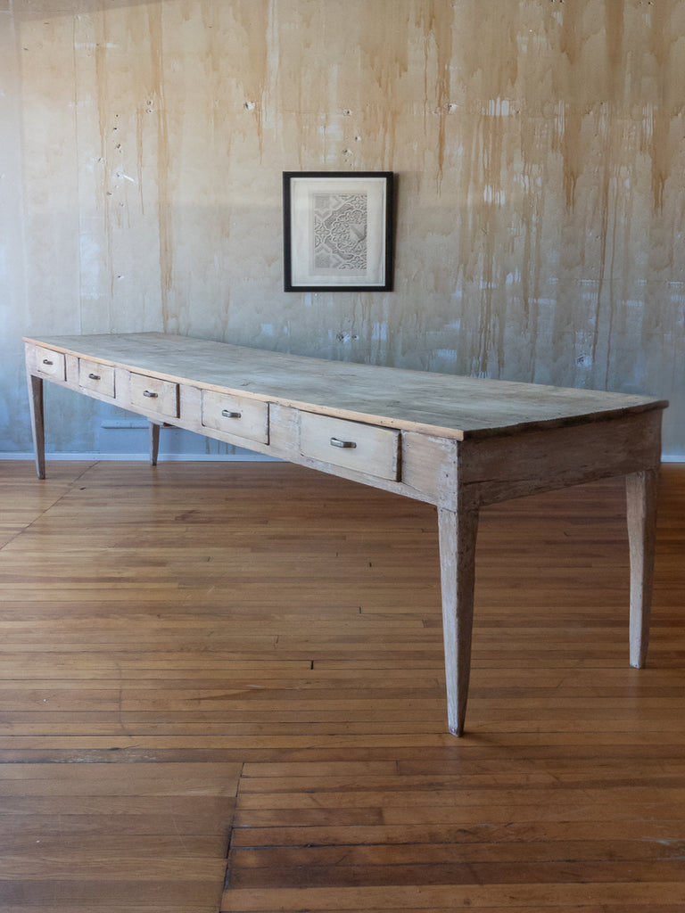 (SOLD) Italian Antique 10 Drawer Refectory Table from a Convent