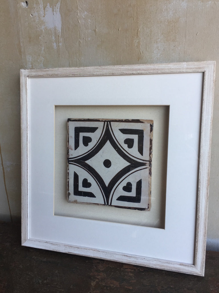 (SOLD) Framed Italian Antique Tile - Black and White