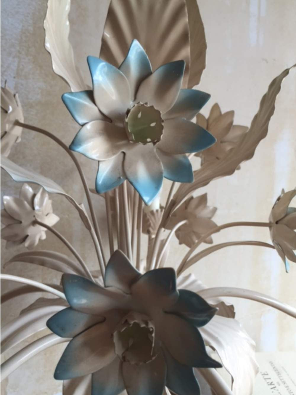 Italian tole chandelier blue floral sold italian tole chandelier blue floral mercato antiques 4 arubaitofo Image collections