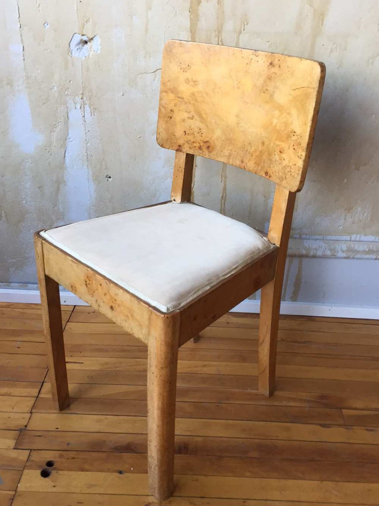 Italian Burl Maple Art Deco Chair - 2 of 2 available - Mercato Antiques - 1