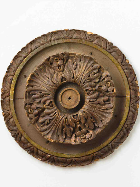 Italian Antique Hand Carved Ceiling Roundel - Mercato Antiques - 1