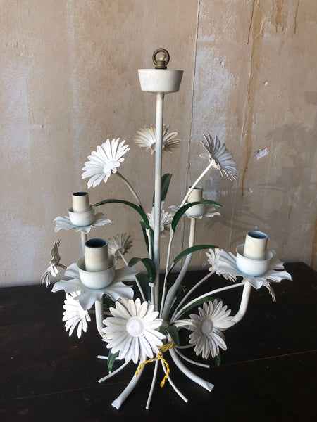 (SOLD) Vintage Tole Chandelier with Daisies