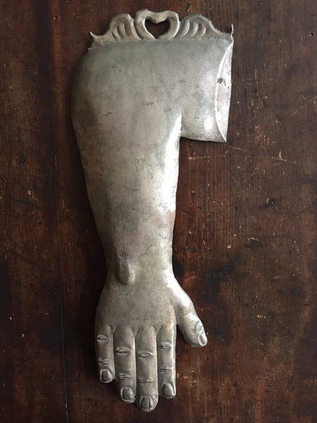 (SOLD) Large Silverplated Ex Voto Arm