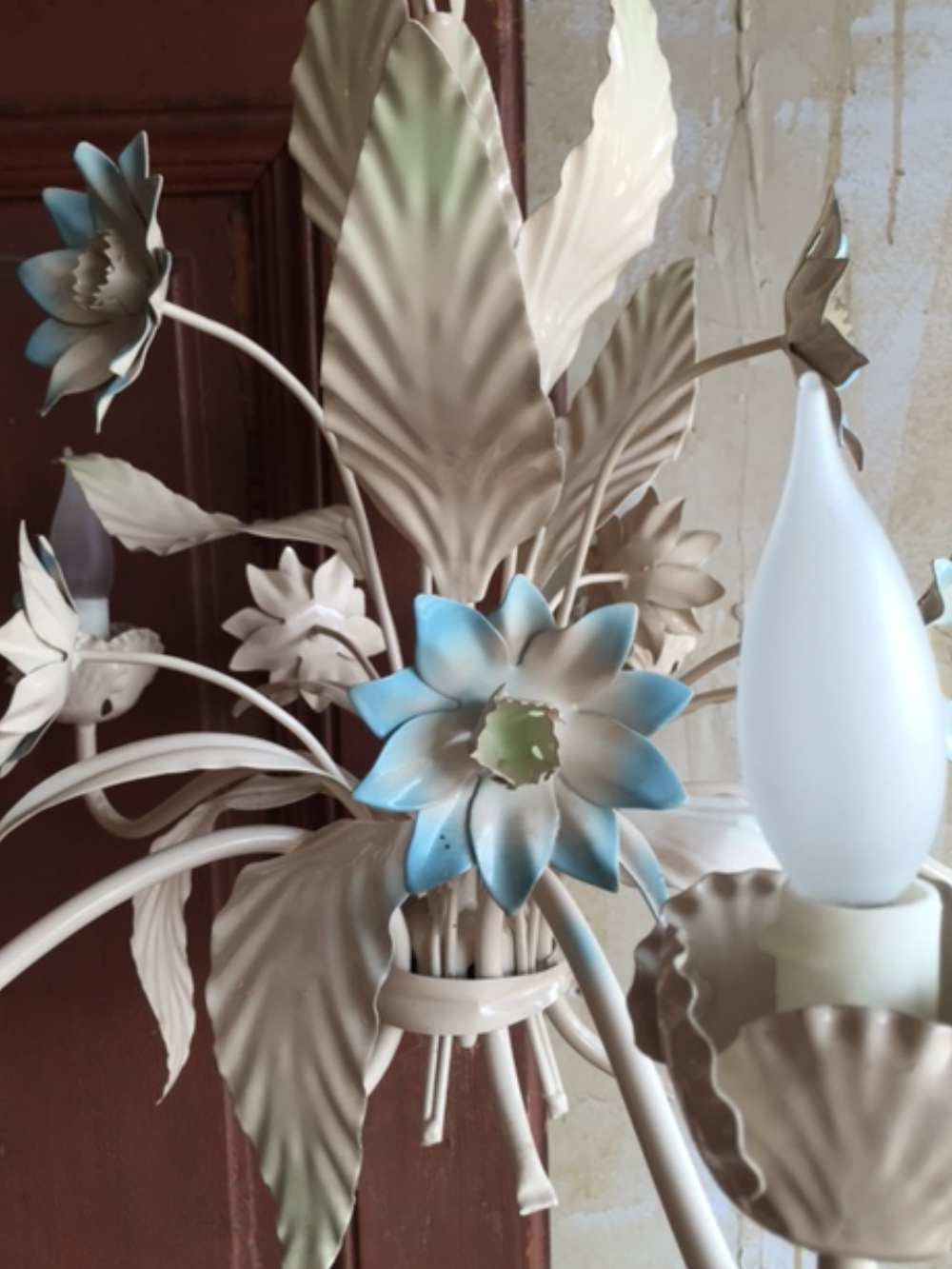 Italian tole chandelier blue floral sold italian tole chandelier blue floral mercato antiques 5 arubaitofo Image collections