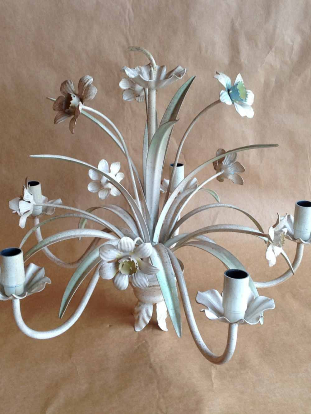 ... Vintage Tole Chandelier With Daffodils - Mercato Antiques - 1 - Floral Vintage Italian Tole Chandelier MERCATO Antiques