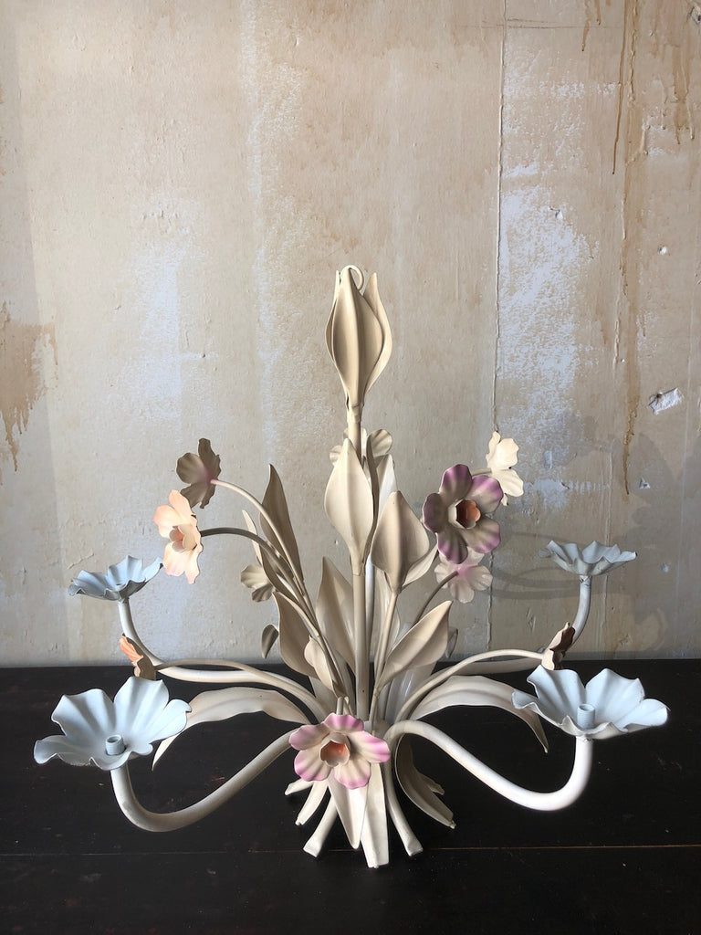 ON HOLD- Vintage Floral Tole Chandelier- Peach and Lavender