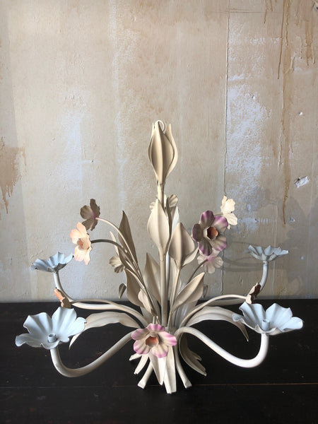 (SOLD) Vintage Floral Tole Chandelier- Peach and Lavender