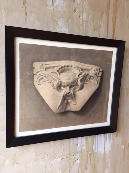 Framed Italian Antique Charcoal Drawing Gargoyle Face - Mercato Antiques - 1