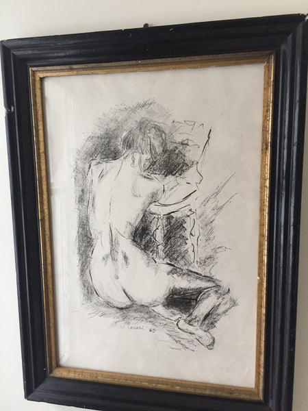 (SOLD) Ink and Charcoal Sketch by Mino Maccari