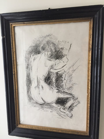 Ink and Charcoal Sketch by Mino Maccari
