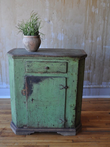 Italian Antique Green Painted Cabinet