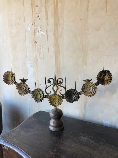 (SOLD) 18th Century Italian Antique Candelabra With Stylized Flowers