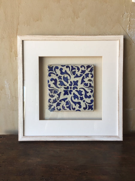 Framed Italian Antique Tile - Cobalt Blue and White