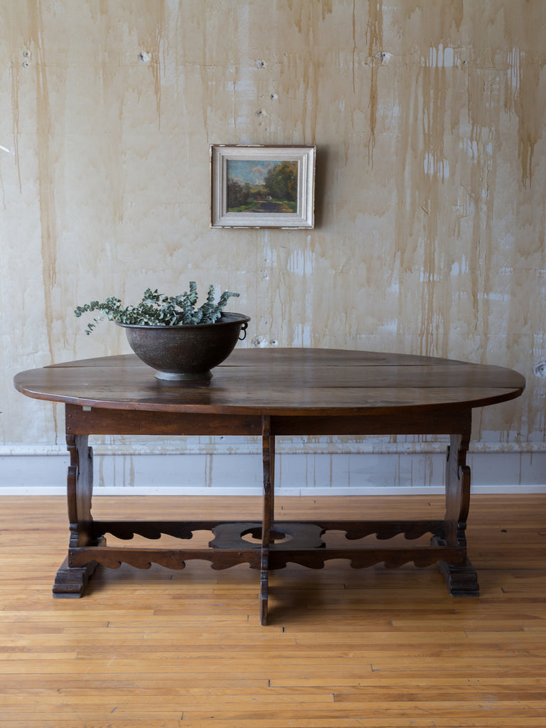Italian Antique Drop Leaf Table- Seats 6