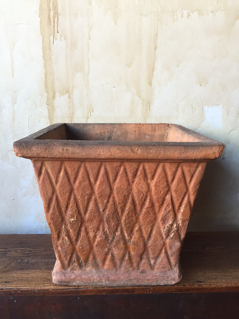 Italian Antique Terra Cotta Pot- Square - Mercato Antiques - 1