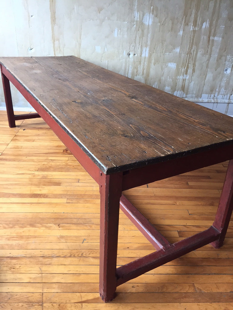 Antique Italian Farm Table with Stretcher - Mercato Antiques - 1