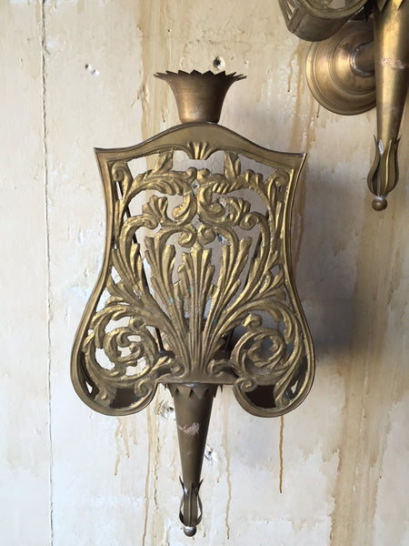 Pair of Italian Brass Wall Sconces Mercato Antiques